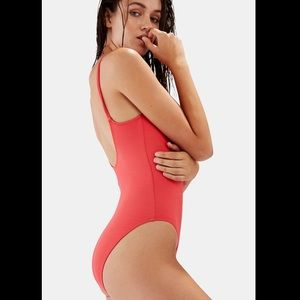 Solid & Striped The Nina Red Pique one-piece
